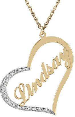 JCPenney FINE JEWELRY Personalized Diamond-Accent 14K Gold Over Sterling Silver Pendant Necklace
