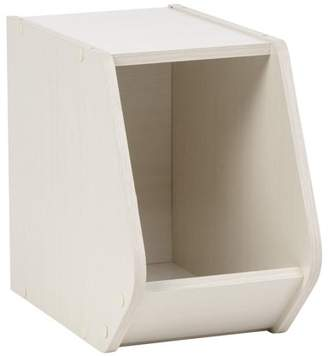 IRIS USA, Inc. IRIS TACHI Narrow Modular Wood Stacking Open Storage Box, Off White