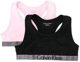Calvin Klein Kids pack of two logo trim bralettes