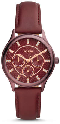 Fossil Modern Sophisticate Multifunction Wine Leather Watch