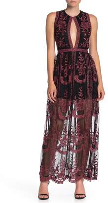 Honey Punch Embroidered Lace Front Cutout Maxi Dress