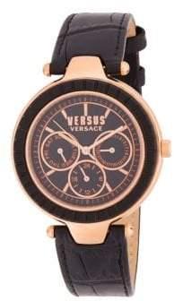 Versace Sertie Leather-Strap Watch