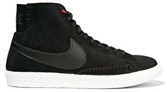 Nike - Blazer Mid Suede And Shearling High-top Sneakers - Black $130 thestylecure.com