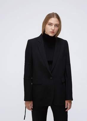 Ann Demeulemeester Ruched Sleeve Wool Blazer