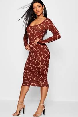 boohoo Giraffe Square Neck Bodycon Midi Dress