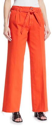 J Brand Tie-Waist Wide-Leg Jeans w/ Raw-Hem