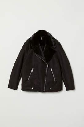 H&M Faux Fur-lined Biker Jacket - Black