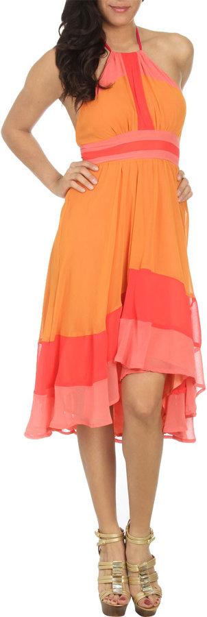 Arden B Colorblock Halter Dress