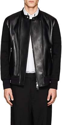 Neil Barrett Men's Leather & Bonded Jersey Moto Jacket