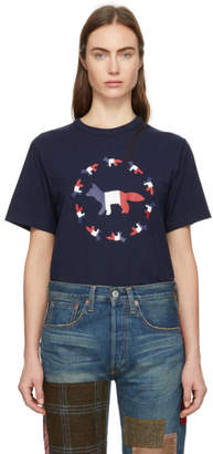 MAISON KITSUNÉ Navy Tricolor Fox Flag T-Shirt