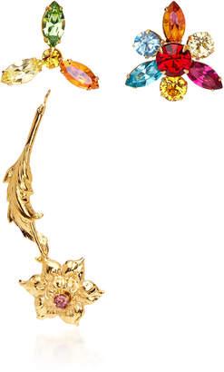 Rodarte Gold Flower Earrings with Multicolor Swarovski Crystal Details
