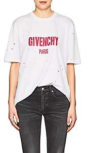 Givenchy Women's Logo Distressed Cotton T-Shirt - White