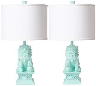 Barbara Cosgrove Set of 2 Foo Dog Table Lamps - Mint