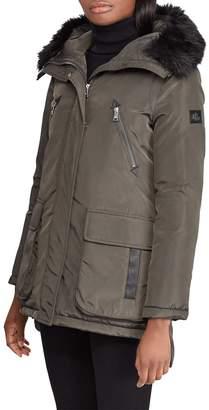 Lauren Ralph Lauren Faux Fur Trim Hooded Coat
