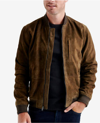 Lucky Brand Men Suede Leather Bomber Jacket