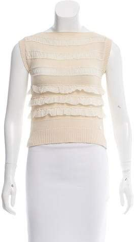 Chanel Ruffle-Trimmed Knit Top