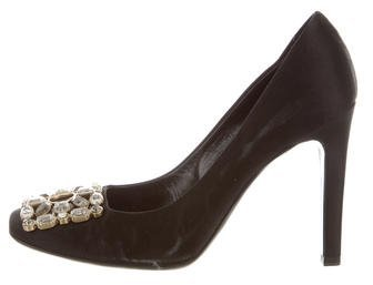 Louis Vuitton Satin Crystal-Embellished Pumps