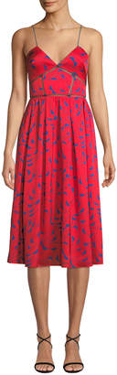 Self-Portrait Self Portrait Azaelea Printed Sleeveless Midi Dress