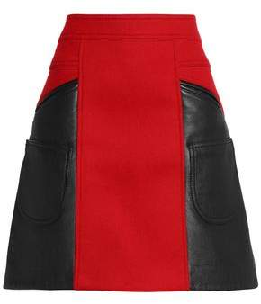Coach Flared Leather And Brushed Wool-Blend Mini Skirt