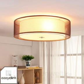 Braune LED-Stoffdeckenlampe Tobia, easydim