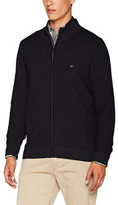 Fynch-Hatton Fynch Hatton Men's Zipp, 2-Tone Horizontal Rib Cardigan
