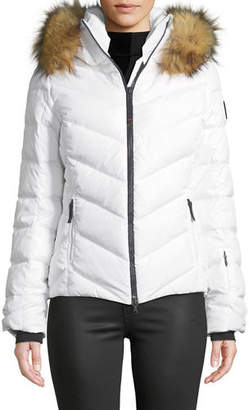Bogner Sport Sassy Chevron Down Puffer Jacket w/ Faux-Fur Trim