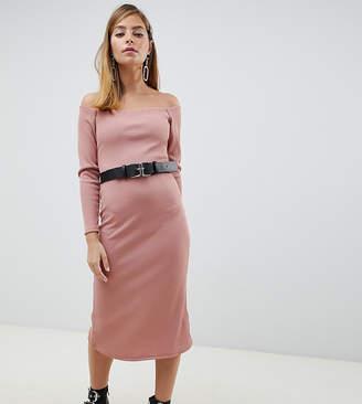 Bardot Lost Ink Petite midi dress with belt in rib