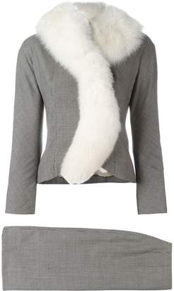 Christian Dior Pre-Owned houndstooth fox fur skirt suit