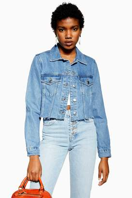 f4b3e0fe357 Topshop Womens Hacked Fitted Denim Jacket - Mid Stone