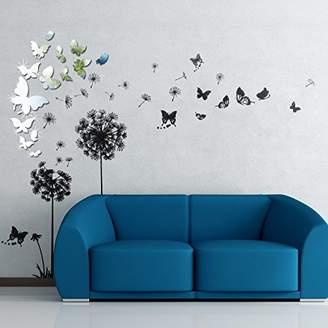 Walplus WSM2057 14 Mirror Butterflies Plus WS5022 Transparent Dandelion Wall Art Murals Nursery Office Home Decoration