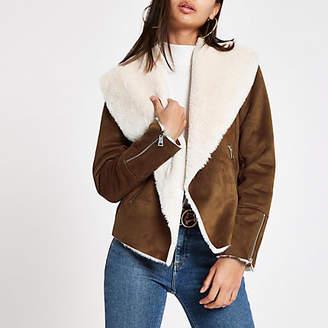 River Island Brown fallaway faux suede jacket