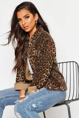 boohoo Leopard Oversized Denim Jacket