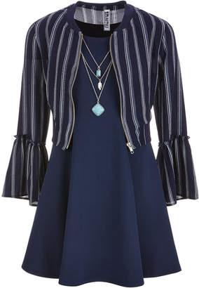 Beautees Big Girls Plus 3-Pc. Bell-Sleeve Bomber Jacket, Dress & Necklace Set