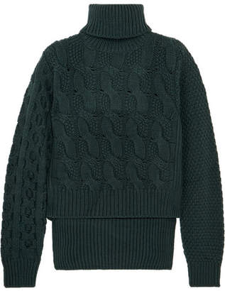 MM6 MAISON MARGIELA Cable-knit Wool-blend Sweater - Forest green