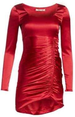 Roberto Cavalli Satin Ruched Sheath Dress