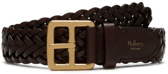 Mulberry 30mm Boho Buckle Braided Belt Chocolate Natural Leather