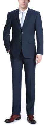 Verno Campana Big Men's Navy Classic Fit Italian Styled Two Piece Suit