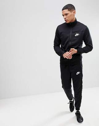 Nike Poly Tracksuit Set In Black 861774-010