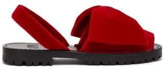 Goya - Bow Embellished Velvet Slingback Sandals - Womens - Red