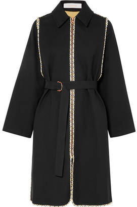 See by Chloe Belted Cotton-twill Coat - Black