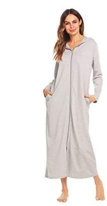 571d5cabc387 Jingjing1 Women Long Sleeve Hoodie Sleepwear Solid Zip-Front A-line Bathrobe  Long Robe