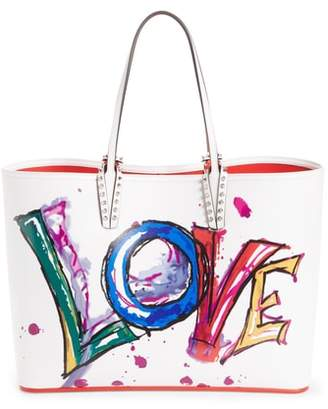 Christian Louboutin Cabata Paris Love Embellished Leather Tote