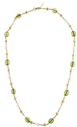 Marco Bicego 18K Peridot & Pearl Station Necklace