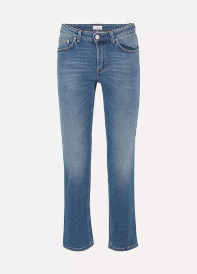 Cropped Mid-rise Straight-leg Jeans - Mid denim