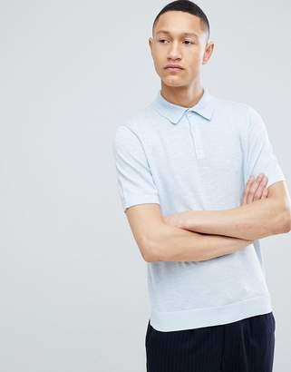 Reiss Knitted Polo In Blue