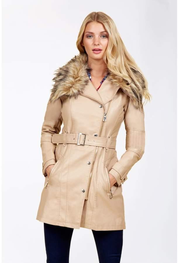 Wrap Collar Pu Trench Coat