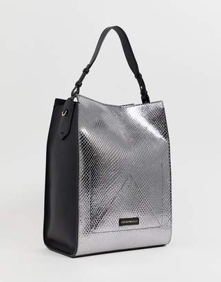 b6b6fcd41f74 Emporio Armani Shoulder Bag in Pewter and Blac
