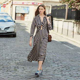 Sandro Long Dress With Striped Design