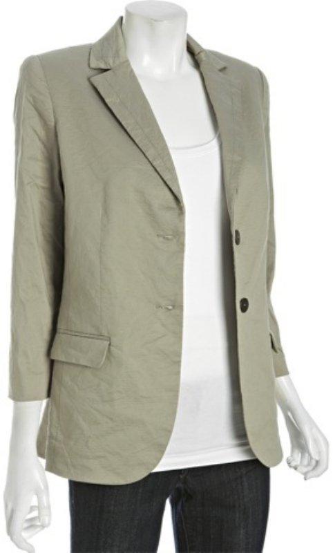 Nicole Miller khaki cotton blend notched lapel blazer