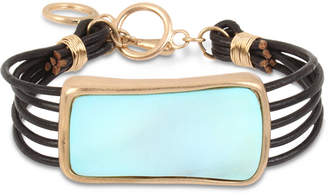 Robert Lee Morris Soho Gold-Tone Imitation Mother-of-Pearl & Leather Cord Bracelet